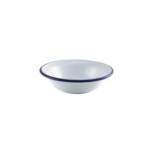 "Enamel Bowl White with Blue Rim 16cm/6.25"""