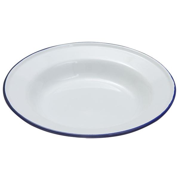 Enamel Deep Plate White & Blue 24cm