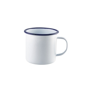 Enamel Mug White with Blue Rim 56.8cl/20oz