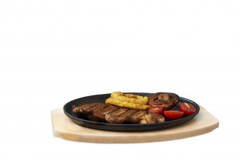 Oval Cast Iron Platter & Trivet 27 x 17cm