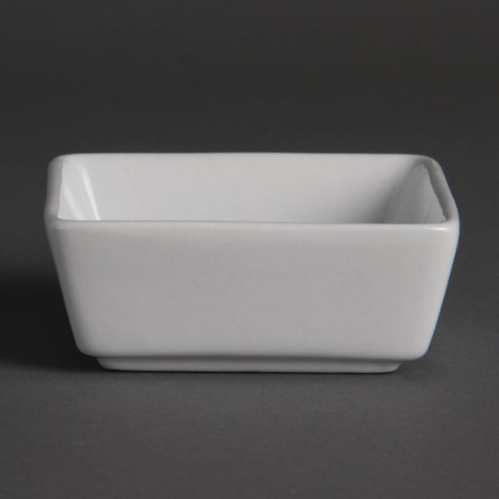 """Olympia Whiteware Mini Square Dish - 80x80x35mm 3 1/8x3 1/8x1 3/8"""" (Box 12)"""