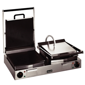 Lincat Lynx 400 Electric Counter-top Twin Panini Grill - Ribbed Upper & Lower Plates - W 623 mm - 4.5 kW