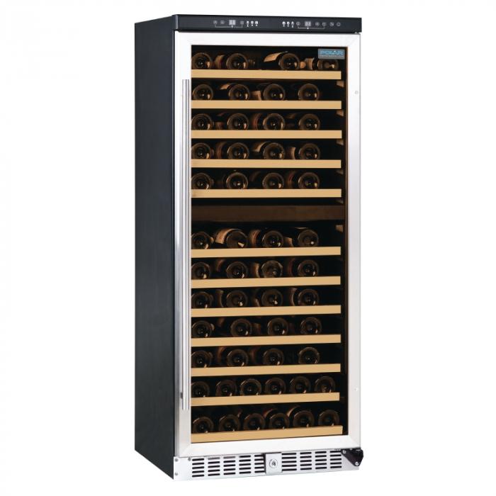 Polar Dual Zone Wine Cooler St/St Door with Lock - 92 Bottle