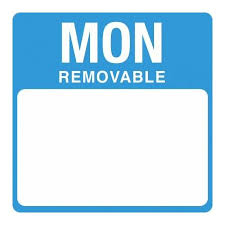 Removable Day Labels Monday
