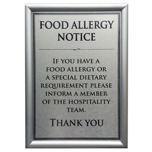 Wall mounted  framed notices Food Allergy Notice A4