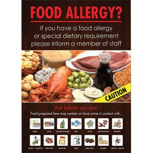 Food Allergen Warning Notice A4 Vinyl Sticker