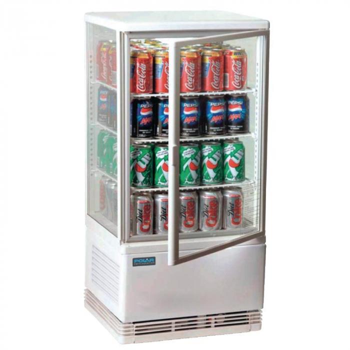 Polar Chilled Display REFRIGERATOR Cabinet White - 68Ltr