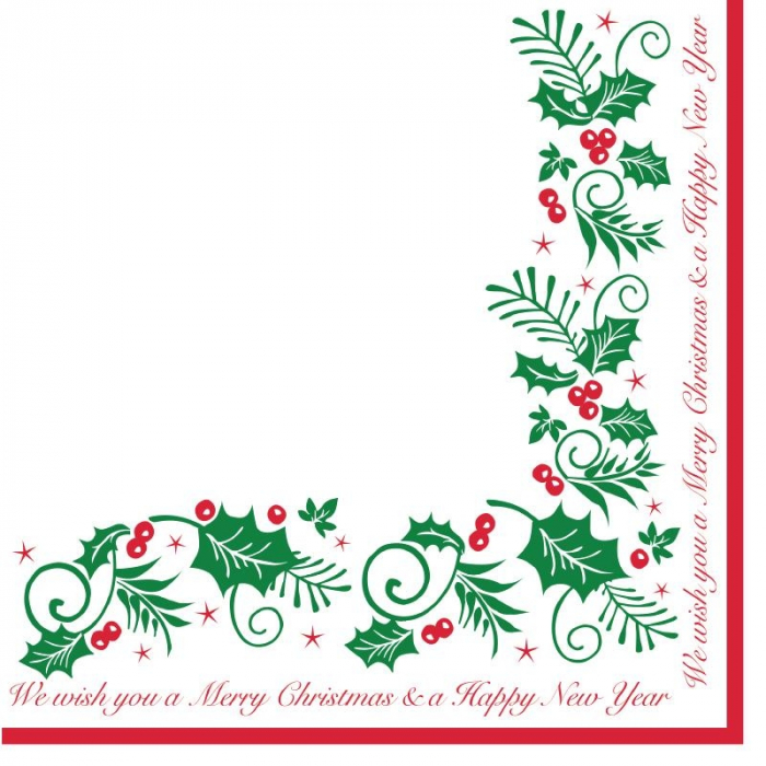 Holly and Ivy Christmas Napkin 2ply 40x40cm