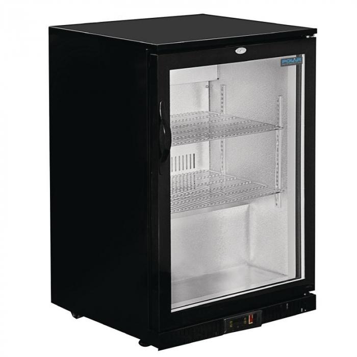 Polar REFRIGERATED Single Door Back Bar Cooler - Black with LED Lighting