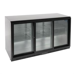 Polar REFRIGERATED Triple Sliding Door Back Bar Cooler 850mm - Black