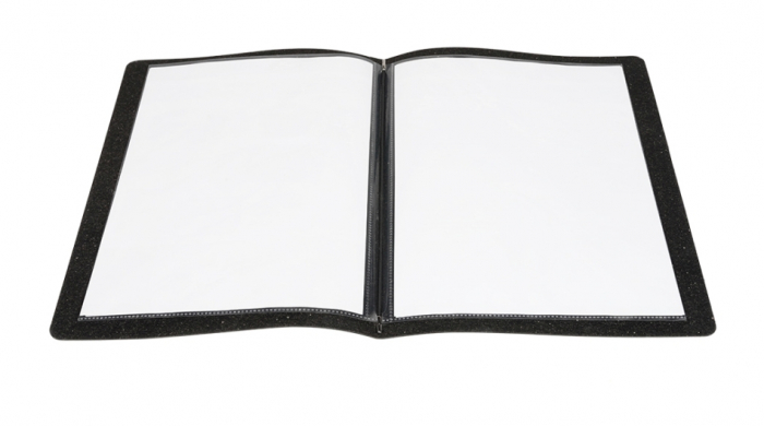 Raw Leather Menu A4 Black