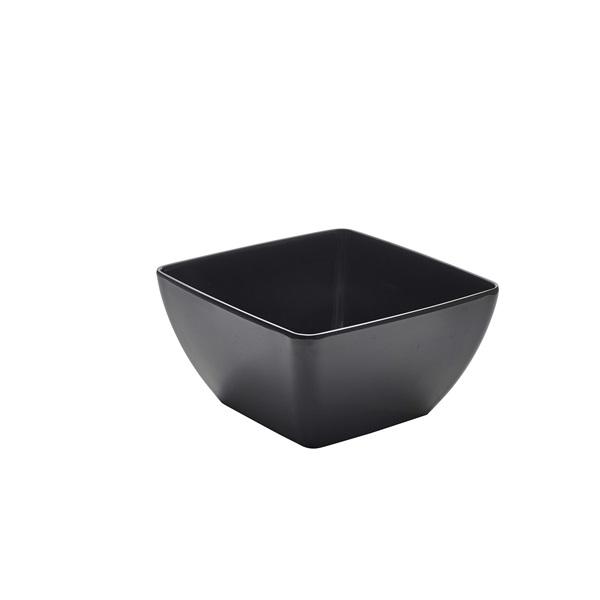 Black Melamine Curved Square Bowl 19cm