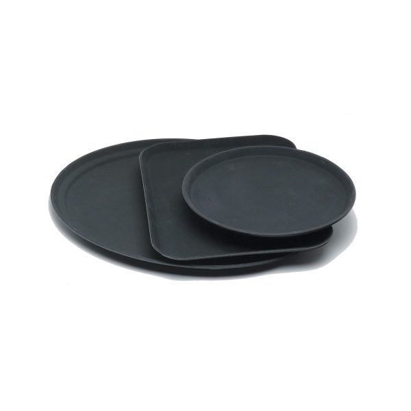 "Gengrip 16"" Round Non-Slip Tray Black"