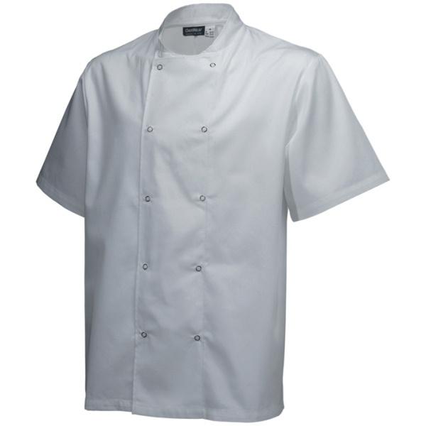 Basic Stud Chef Jacket (Short Sleeve) White