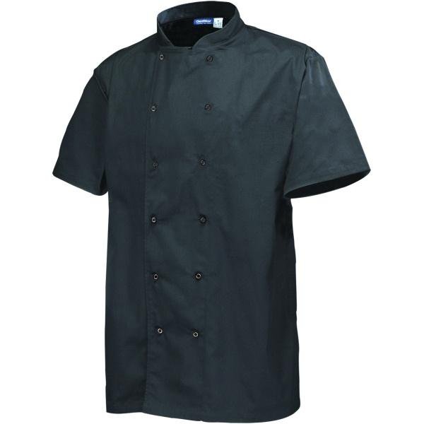 Basic Stud Chef Jacket (Short Sleeve) Black