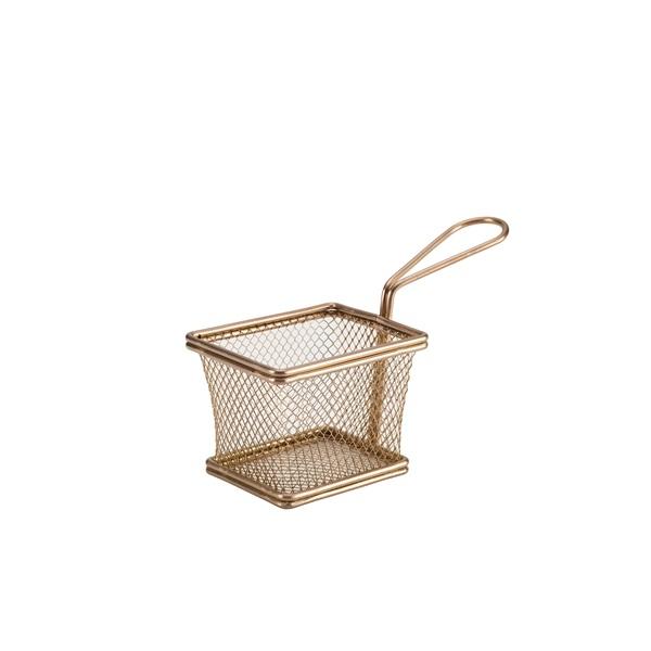 Copper Serving Fry Basket Rectangular 10 x 8 x 7.5cm
