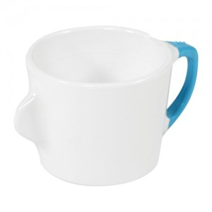 Omni White Cup with Blue Handle 130x90x70mm 200ml