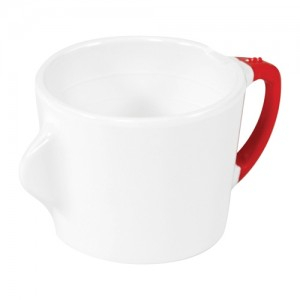 Omni White Cup with Red Handle 130x90x70mm 200ml