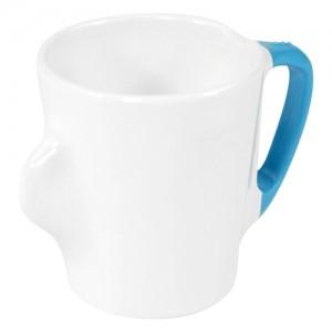 Omni White Mug with Blue Handle 135x90x100mm 300ml