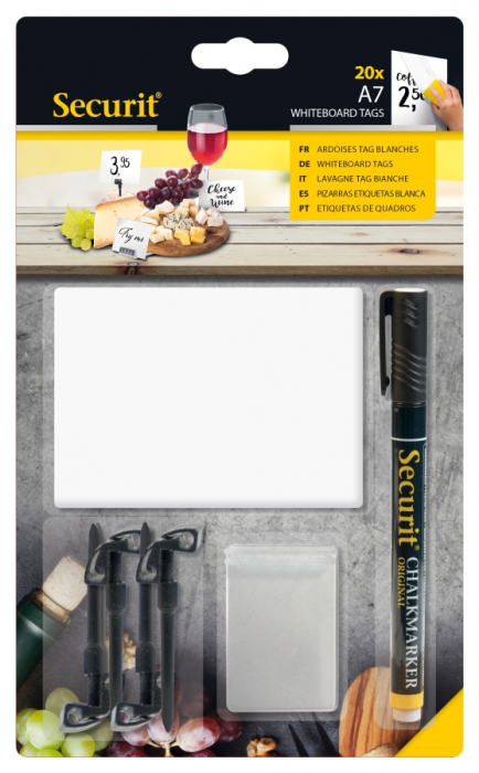20 White Chalk Board Tags A7 + 1 Black Chalkmarker