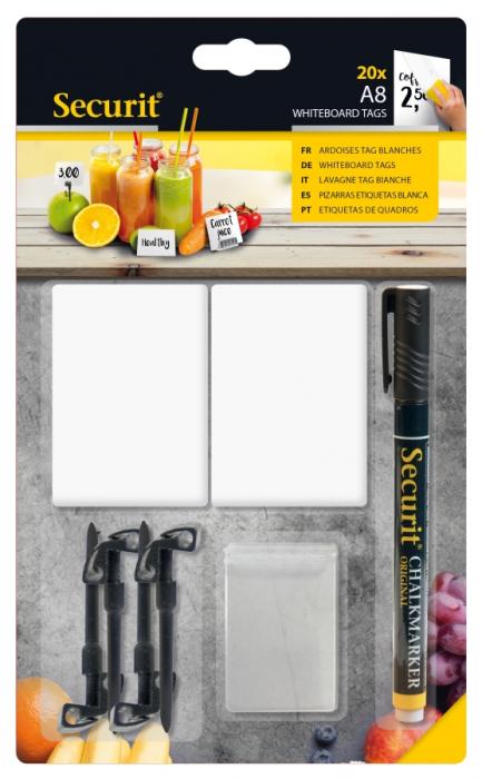 20 White Chalk Board Tags A8 + 1 Black Chalkmarker