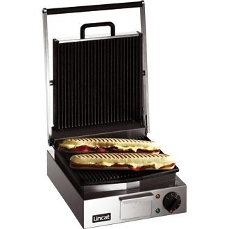 Lincat Lynx 400 Electric Counter-top Single Panini Grill - Ribbed Upper & Lower Plates - W 310 mm - 2.25 kW
