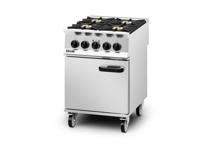 Lincat Opus 800 Dual Fuel [Natural Gas] Free-standing Oven Range - 4 Burners - W 600 mm - 30.0 kW