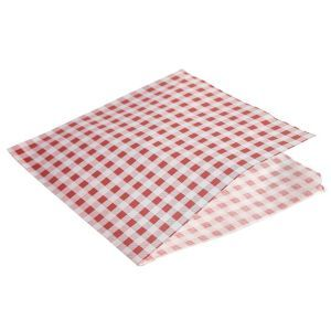 Greaseproof Paper Bags Red Gingham Print 17.5 x 17.5cm