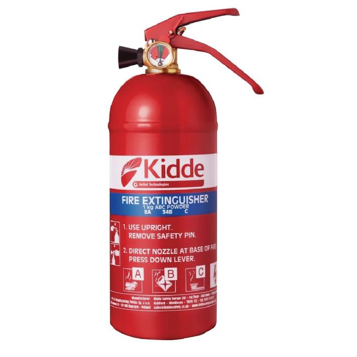 Kidde Fire Extinguisher - Multi Purpose (A,B, C and electrical fires) 1kg capacity