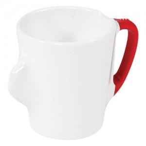 Omni White Mug with Red Handle 135x90x100mm 300ml