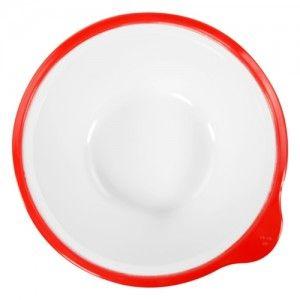 Omni White Bowl with Red Rim 180x170x50mm 400ml
