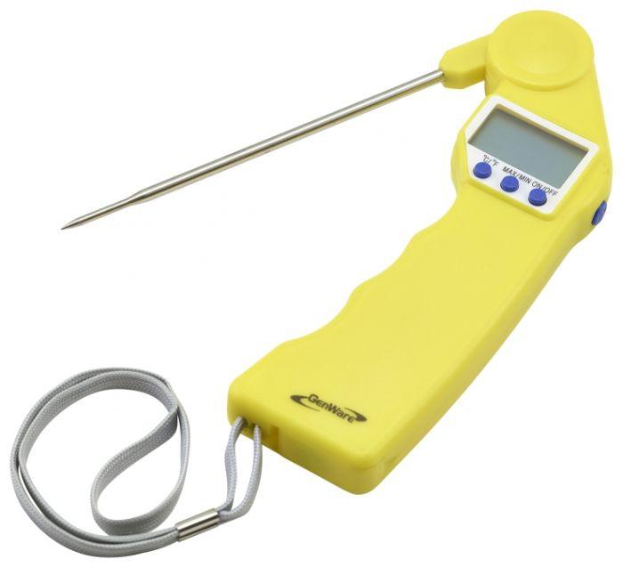 Genware Yellow Folding Probe Pocket Thermometer